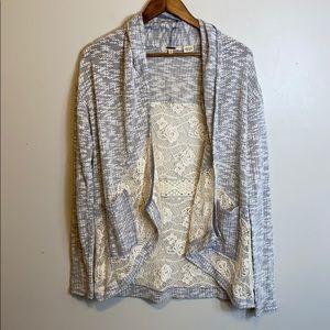 Miss Me Crotchet Floral Cardigan Grey / Khaki